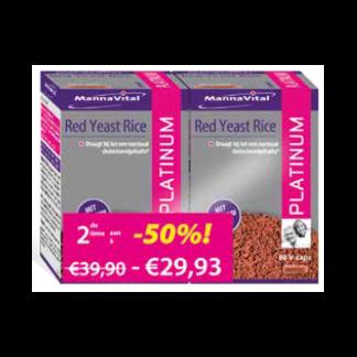 cholesterol rode rijst Mannavital Red Yeast Rice Platinum Duopack 2e aan -50 procent