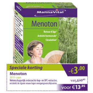 menopauze overgang opvliegers vapeurs prikkelbaarheid Mannavital Menoton min 3 euro