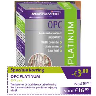 zware benen vermoeide benen vlotte circulatie Mannavital OPC Platinum min 3 euro